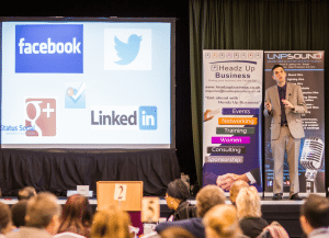 Mark Saxby at the Social Media Marketing Conference, delivering a social media talk www.jamesbastable squared