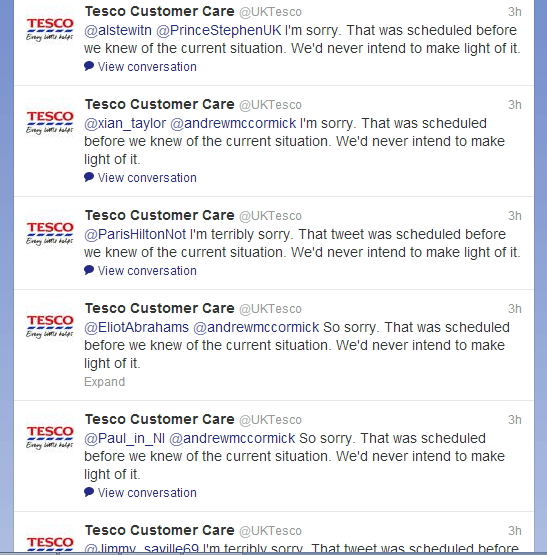 Twitter Tesco Tweets apology