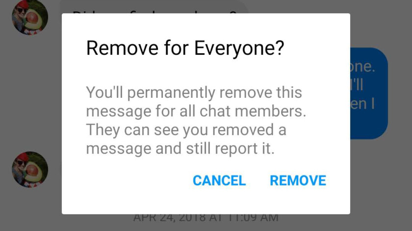 facebook message remove