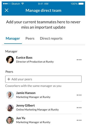LinkedIn team mates feature