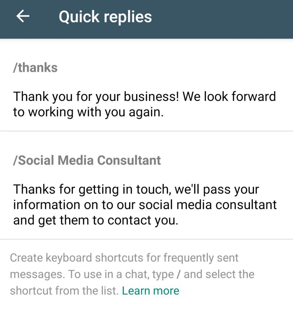 WhatsApp Business Quick Reply