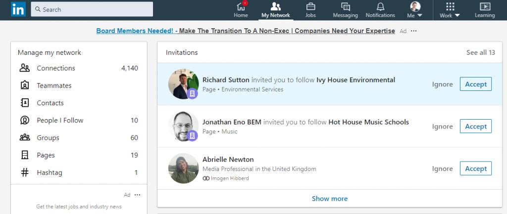 LinkedIn Page Invite