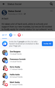 Invite all who engaged with your page's post Facebook